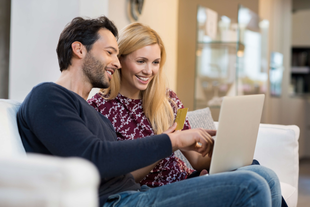 Couple making purchase online